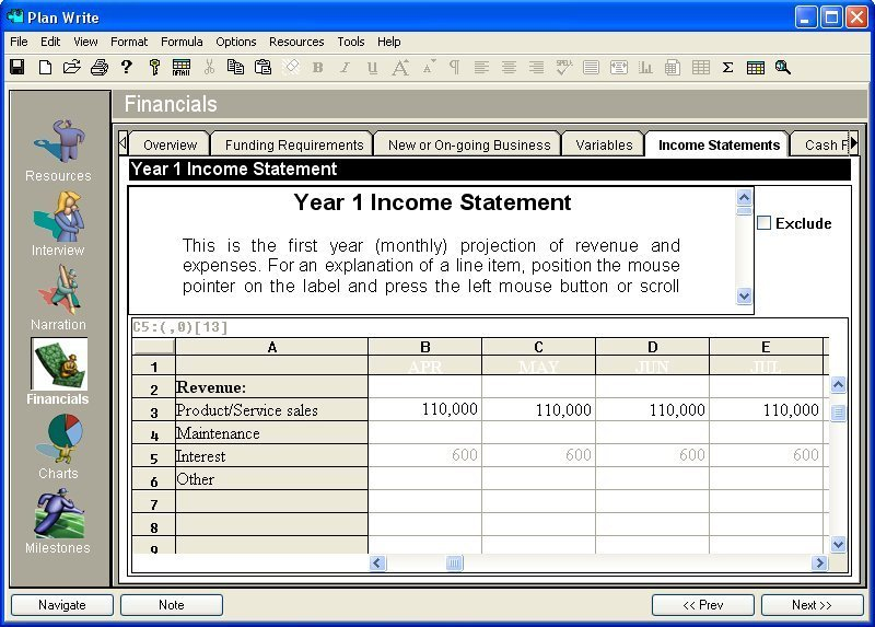 Plan Software: Financial Statements